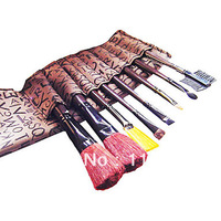 10PCS Free shipping Cosmetic Brush Set (Brown 8 brushes)