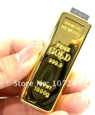 Wholesale Real Capacity gold bar Genuine 64GB USB 3.0 Memory Stick Flash Pen Drive, free shipping(China (Mainland))
