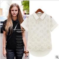 Женские блузки и Рубашки 2013 Summer Women's New Short-sleeved Chiffon Shirt LACE Stitching Chiffon Shirt