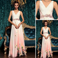 Free Shipping A-line Georgette Printing V-neck Lady Long Evening Dresses With Beads and Sequins 30776