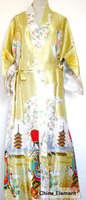 Gold 2013 new Silk Polyester  Women Robe Gown Kimono Bathrobe Sleepwear Size S M L XL XXL