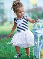 Free shipping Retail New 2013 summer Gauze dress Stripe dresses girl dress with bow