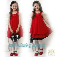 Wholesale and retail 2013 summer girls sleeveless chiffon dress, princess children dresses