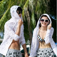 2012 summer plus size beach women's long-sleeve transparent lovers sun protection clothing hooded