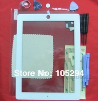 Free Shipping Touch Screen Digitizer Home button 3M Adhesive Tape Sticker for iPad 2 white with 8 pcs tools