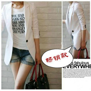 Fashion new arrival 2013 women's spring casual blazer long-sleeve medium-long one button suit jacket