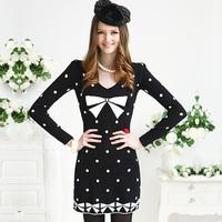 2012 autumn and winter black-matrix white polka dot bow slim long-sleeve dress 3