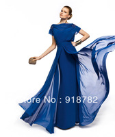 Real Sample New Design Formal Elegant A Line Chiffon Blue Floor Length Short Sleeve Party Dresses Evening Gown 2013