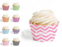 Free Ship chevron partyware 2400 x Chevron Cake Cupcake Wrappers Wraps Sleeves COLLARS SKIRTS Muffin Cup Cake Wraps in 8 colors(China (Mainland))