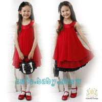 Wholesale and retail 2013 summer girls sleeveless chiffon dress, princess children dresses 4pcs/lot Free Shipping!