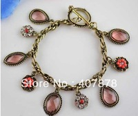 Wholesale - Vintage Style Drop Rhinestone Flower Crystal Bracelet 12pcs/lot women&#39;s jewelry