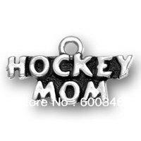 free ship 15pcs a lot alloy antique silveri love  hockey  mom charm pendants jewelry
