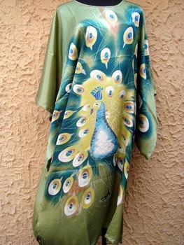 Зеленый Шелк Полиэстер Ladies Robe Gown Nightgown Yukata Kaftan one Размер