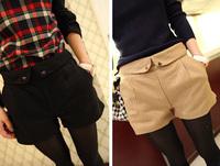 Mushroom autumn new arrival roll up hem waist of trousers woolen women's suit shorts western-style trousers
