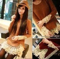 Mushroom autumn women's vintage lace patchwork 2 decoration new arrival sweater 3