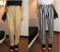 Fashion women's vintage polka dot involucres skinny pants black and white vertical stripe harem pants female ankle length