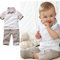 Free Shipping 2013 Wholesale 3-pcs 100%cotton baby clothes suit ,kids clothing set (T-shirts+vests +shorts),5 set/lot
