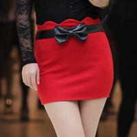 2013 spring solid color bow basic slim hip skirt bust skirt short skirt slim all-match fashion skirt bag a-line skirt