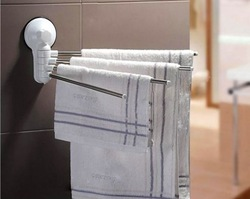 Stainless steel Suction Cup Bathroom Towel Rails Shelf Rotatable Towel Rack 4 Bars New Free Shipping(China (Mainland))