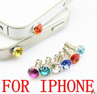 Free shipping Rose Red Crystal Silvery Plug -3.5mm Smart Phone Dust Stopper Earphone Cap Dustproof Plug Charms for iPhone 4 4S 5