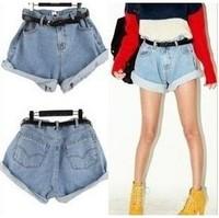 Little red riding hood denim shorts vintage high waist loose water wash light blue belt 804