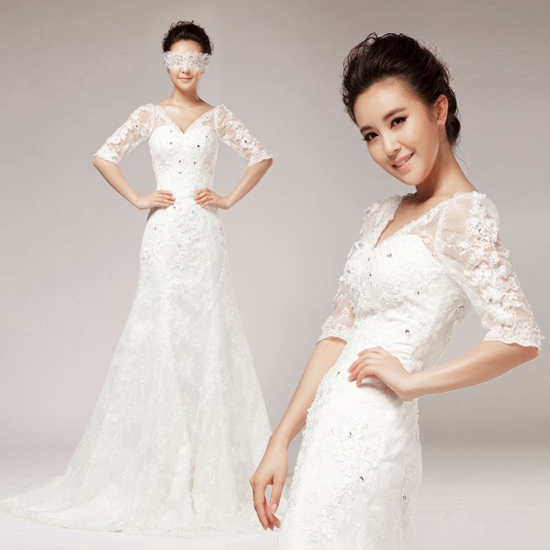 Ink vintage V collar lace with sleeves half sleeve princess bride wedding dress formal 2013 free shiping new arrival(China (Mainland))