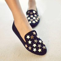 2013 spring and summer new arrival fashion metal five-pointed star rivet round toe flat heel single shoes fashion vintage female