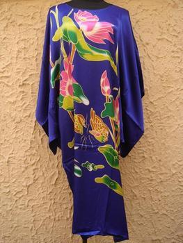 Синий Полиэстер Ladies Robe Gown Nightgown Yukata Kaftan one Размер