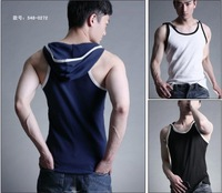 Free shipping! Male vest 100% cotton with a hood sleeveless vest 4