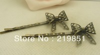 Free Shipping 20*18MM Wholesale vintage bronze hair pin butterfly hairpin 20