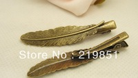 Free Shipping 12*52MM Wholesale vintage bronze hair pin duck feather hair clips 18