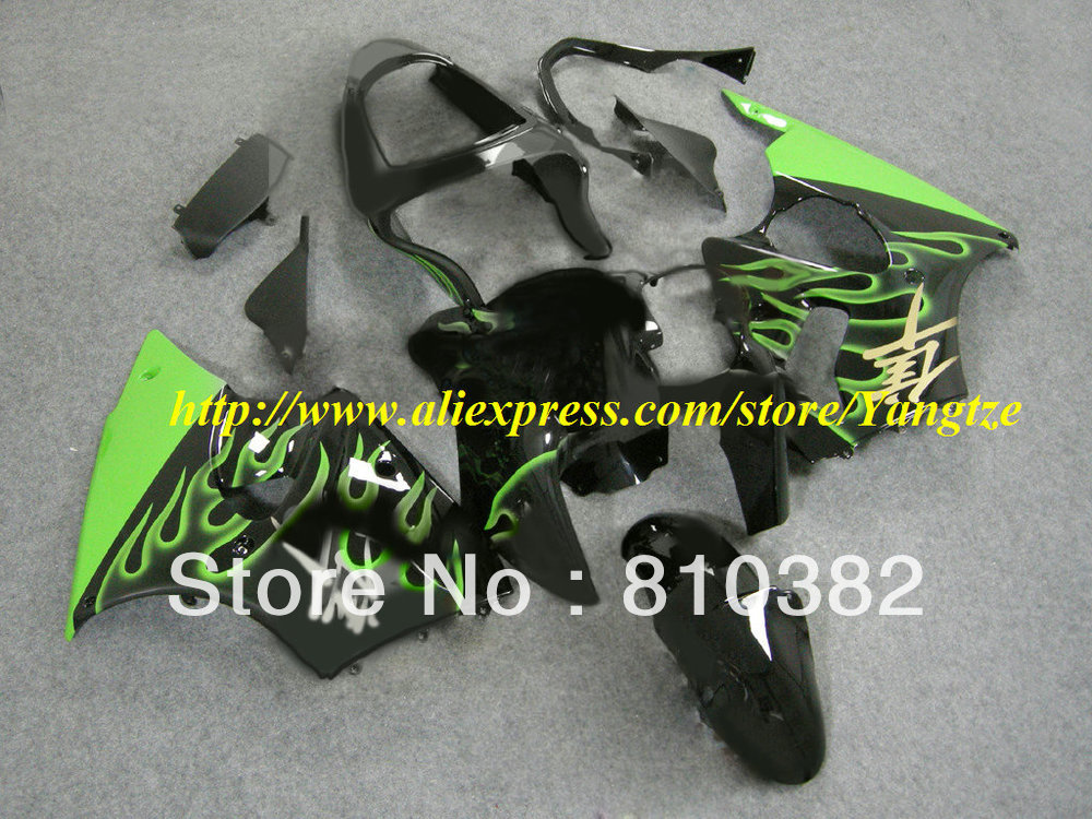 TOP Style green flames black Fairing for 2005 2008 KAWASAKI ZZR600 05 08 ZZR 600 2005-2008 ZZR 600 05 06 07 08 body work(China (Mainland))
