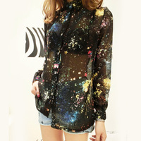 harajuku 2013 news galaxy dress sweaters 2013 spring fashion turn-down collar long-sleeve chiffon