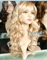 Fashion Long Wavy light blonde Curly Fibre hair Women's wig  W431