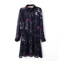 harajuku 2013 news galaxy dress sweaters Hallucinogenic  spring vintage  collar personalized elastic waist long-sleeve dress