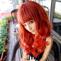 free shipping Andy long fluffy medium-long kinkiness rhodic qi bangs gradient tail dull wig big red 1221