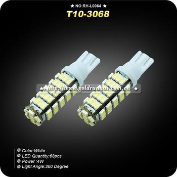 2PCS/Lot New T10 3068 4W Vehicle Bulb Wedge Car 68-LED SMD Light Lamp DC12V-White RH-L0064,Free Shipping