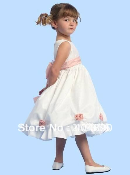 Free shipping ruffle ball gown flowered bowed knee long flower girl dresses(China (Mainland))