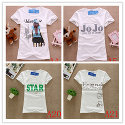 2013 Fashion Good Quality Cotton T Shirt Women Tops T-shirts Ladies clothes 21 color(China (Mainland))