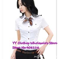Free shipping,2014New arrive korean women's slim short sleeve puff-sleeve Ol,Career elegant fashion tops shirts,blouses,S~XXL