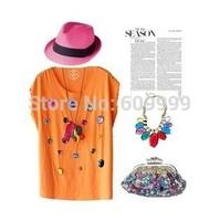 out of stock-Fashion vintage gem female t-shirt vest candy multicolour loose vest female wmts1