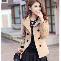 2013 spring overcoat double breasted plus size slim woolen outerwear wool coat short design woolen outerwear female