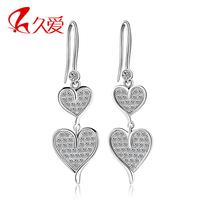 Heart 925 pure silver earrings drop earring double heart cubic zircon bride accessories