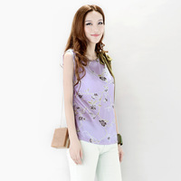 Brief pliableness print silks and satins mulberry silk sleeveless top t-shirt female wmts1