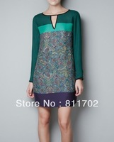 new spring and summer 2013 spell color print women  dress, free shipping