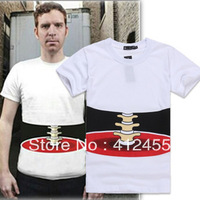 2013 Free shipping half-length 3d three-dimensional bones male short-sleeve  /3D T-shirt lovers basic shirt