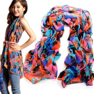 (Min order is $10) E8052 2013 female elegant doodle lengthen chiffon silk scarf chiffon scarf(China (Mainland))