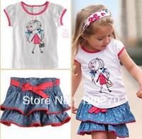 Free Shipping Summer Baby Girl's 2 Piece Suits Short Sleeved T-shirt + Denim Skirt Kids Clothing Polka Dot Print Tutu Skirt Set