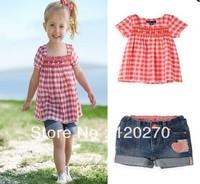 Fashion Baby Girl's 2Piece Suit Short Sleeve Lattice T-shirt + Denim Shorts Pants Cute Kids Summer Clothing Pink Set 5set/lot