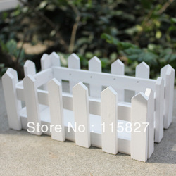 White Color Wooden Fence Artificial Flower Pot Wooden Vase Flower Holder Home or garden Decoration 21.5*11.5cm(China (Mainland))